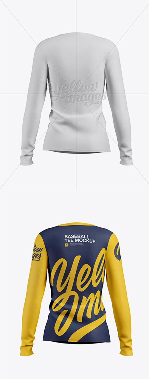 Womens Baseball T-shirt with Long Sleeves Mockup Back View 18739