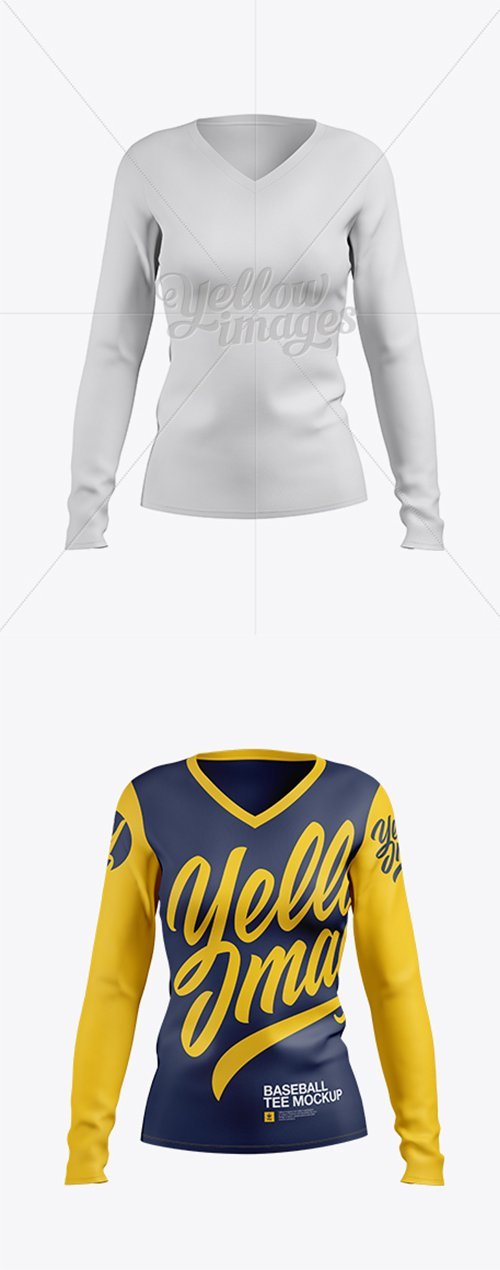 Womens Baseball T-shirt with Long Sleeves Mockup Front View 18736 TIF