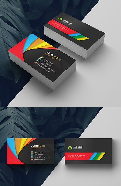 Multicolored Business Card Layout 278613771 AIT