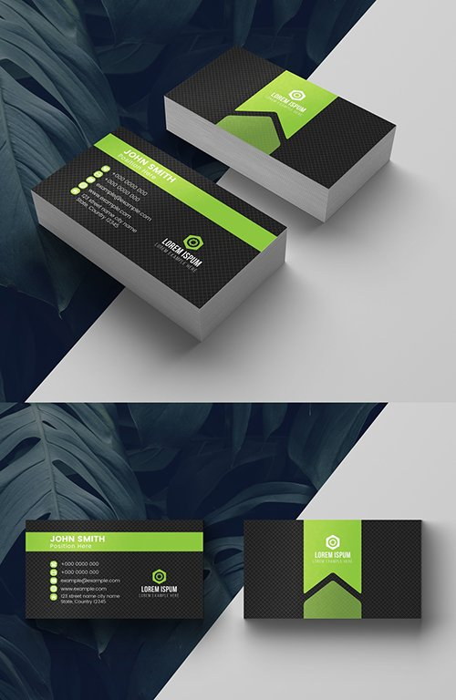 Green and Charcoal Business Card Layout 281130753 AIT