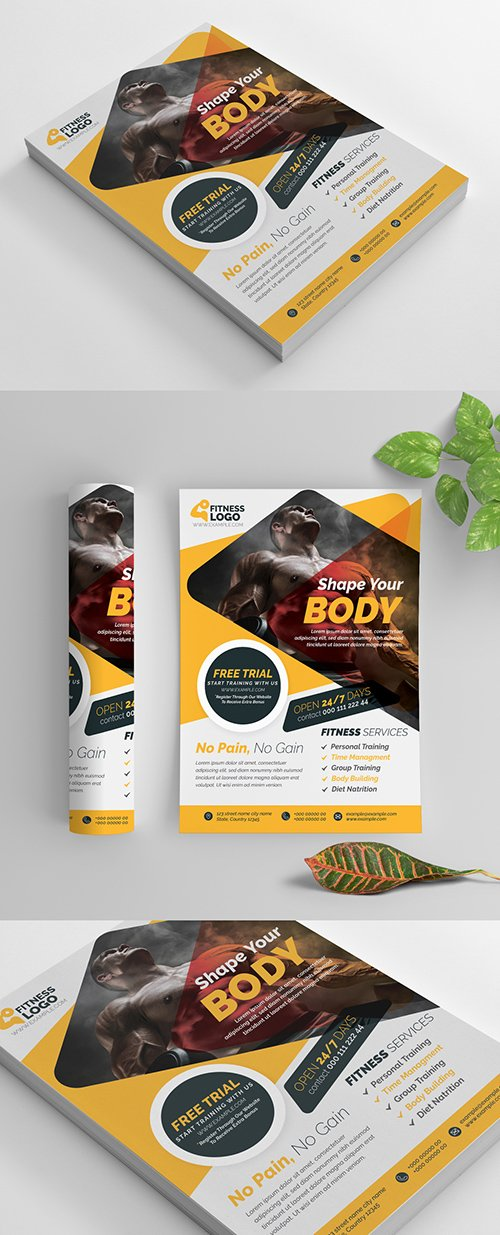 Fitness Flyer Layout with Yellow Accents 269583860 AIT