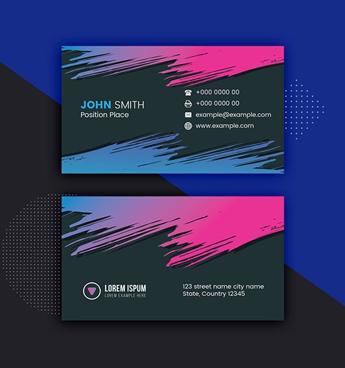 Dark Colorful Business Card Layout 281127347 AIT
