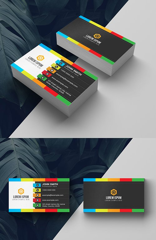 Colorful Dark Business Card Layout 278613765 AIT