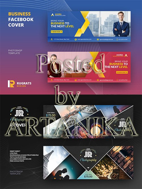 Business and Photography Facebook Cover Template Set