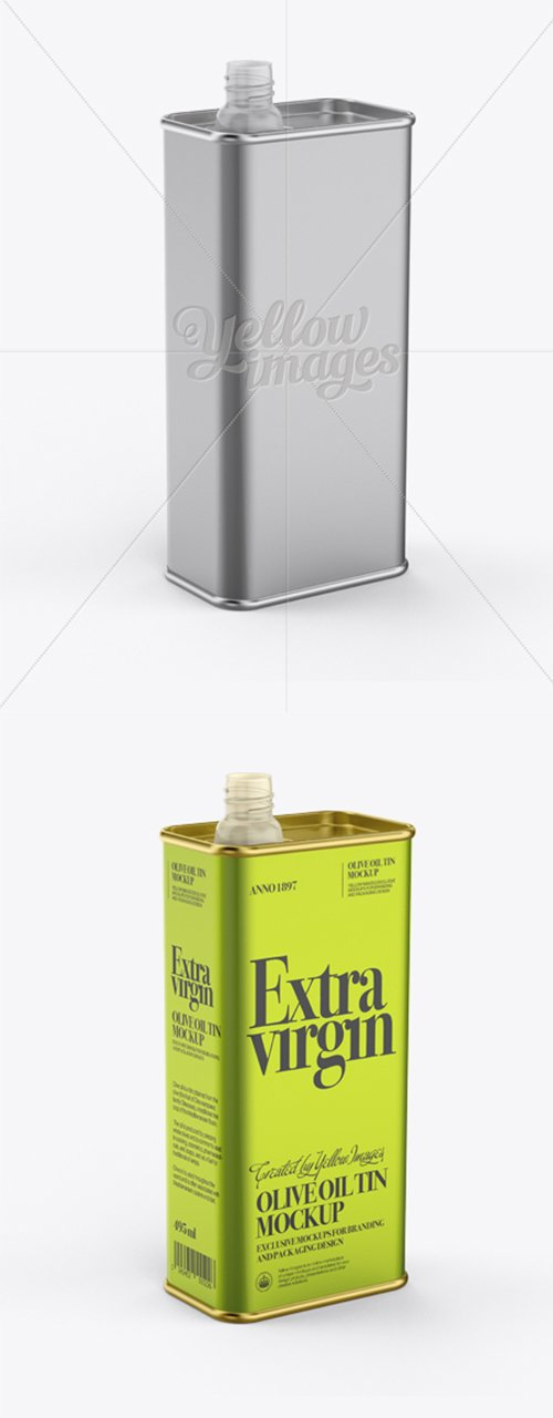 Opened Olive Oil Tin Can Mockup - Half-Side View 12322 TIF