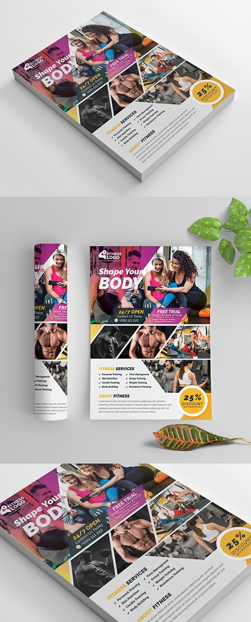 Fitness Flyer Layout with Purple and Yellow Accents 269583900 AIT