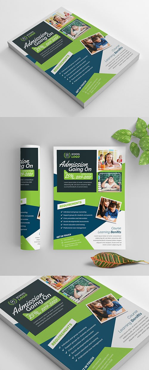 School Flyer Layout with Blue and Green Accents 269583871 AIT