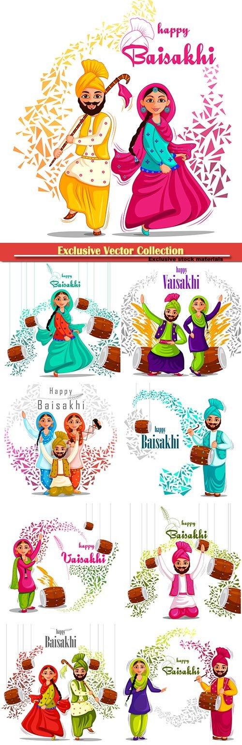 Greetings background for Punjabi New Year festival Vaisakhi celebrated in Punjab India