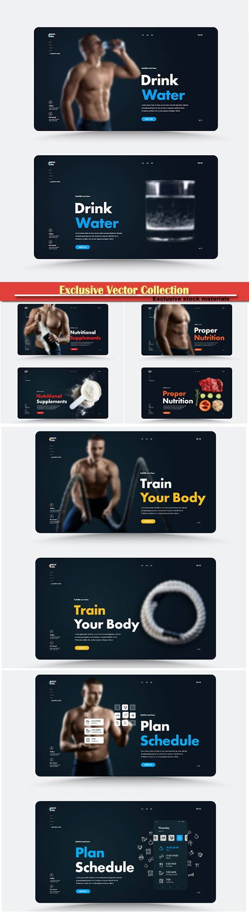 Vector website page design for a personal trainer or nutritionist