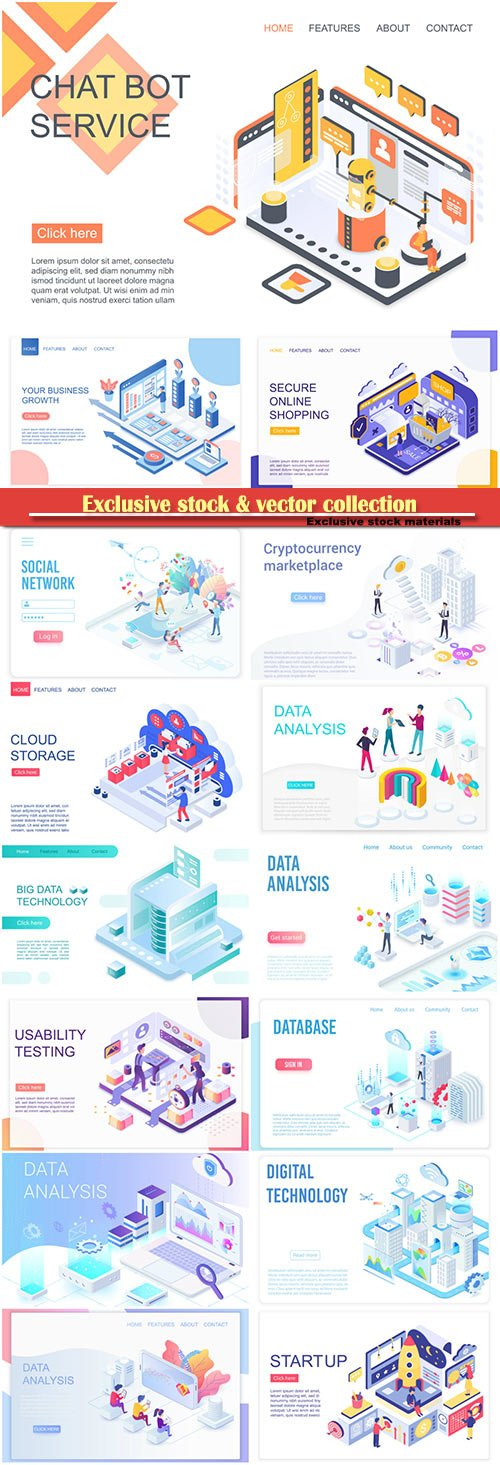 Website page isometric vector illustration, flat banner # 13