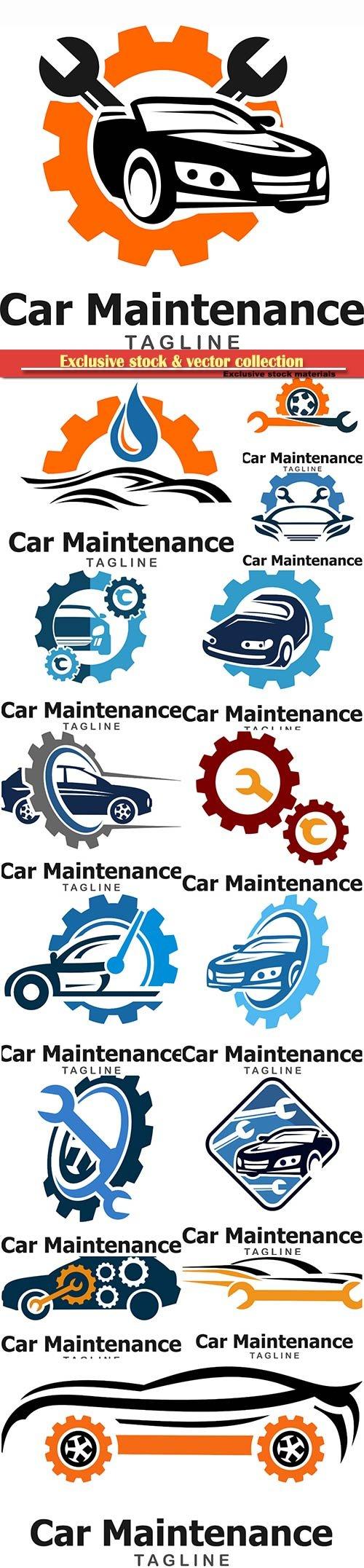 Car maintenance and repair vector logo