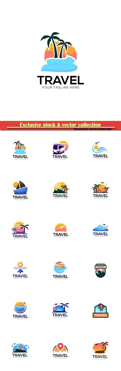 Travel vector logo design set