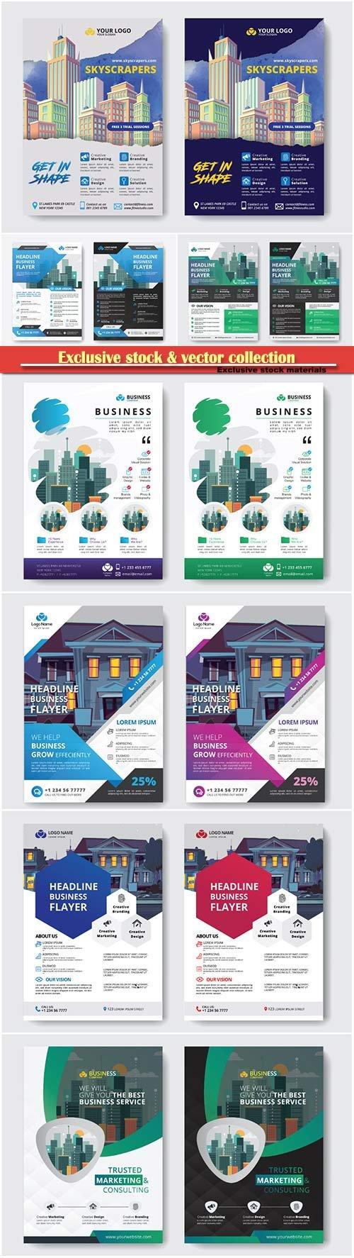 Brochure cover design vector template # 9