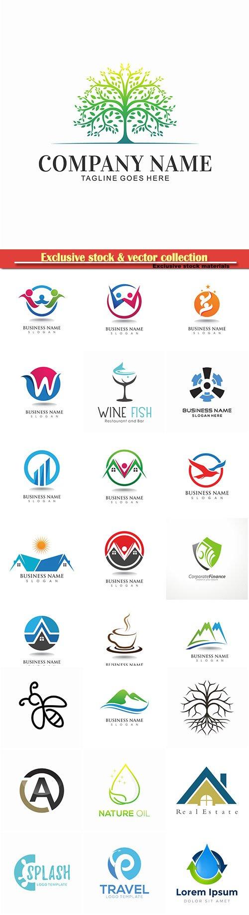 Logo vector template business set # 17