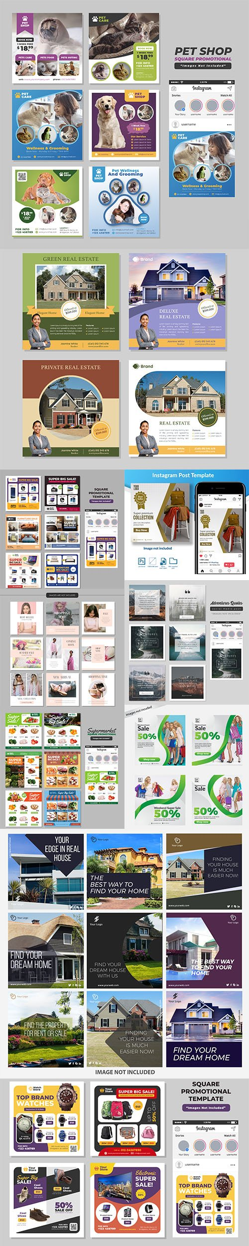 Social Media Post PSD and EPS Template Set 5
