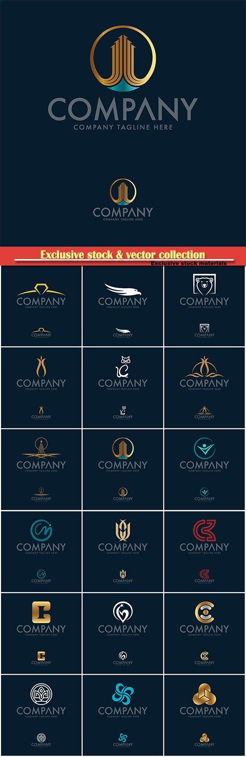 Logo vector template business set, company tagline here
