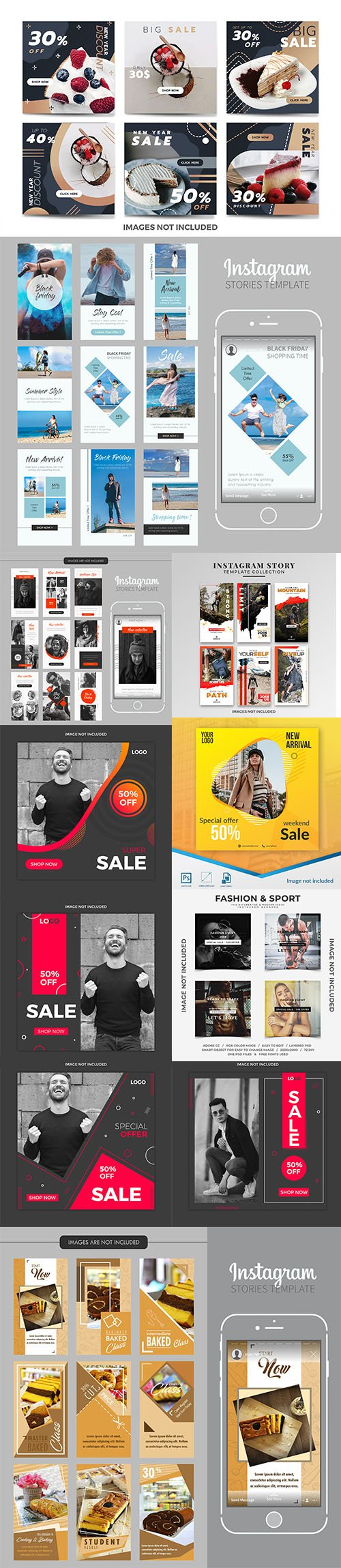Social Media Post PSD and EPS Template Set 6
