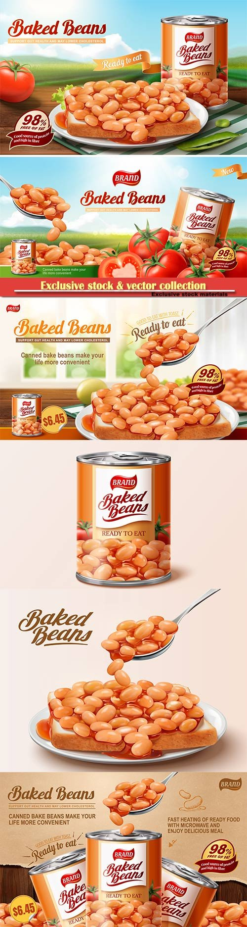 Baked beans ads with delicious beans on toast in 3d vector illustration