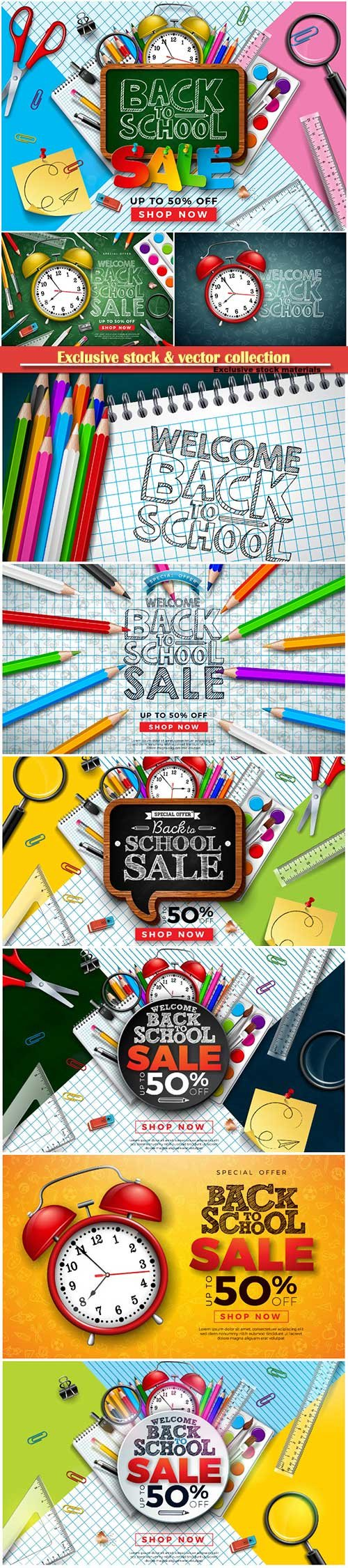 Back to school design vector, education concept illustration # 4