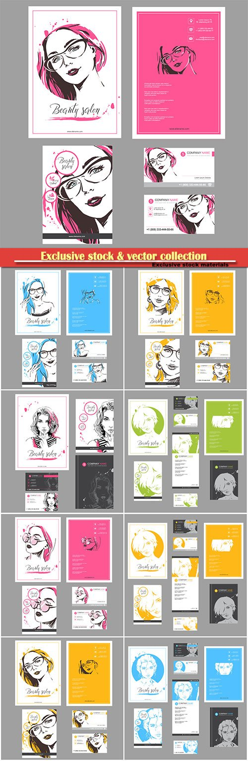 Big set of fashion templates for card, flyer, poster, brochure and leaflet design