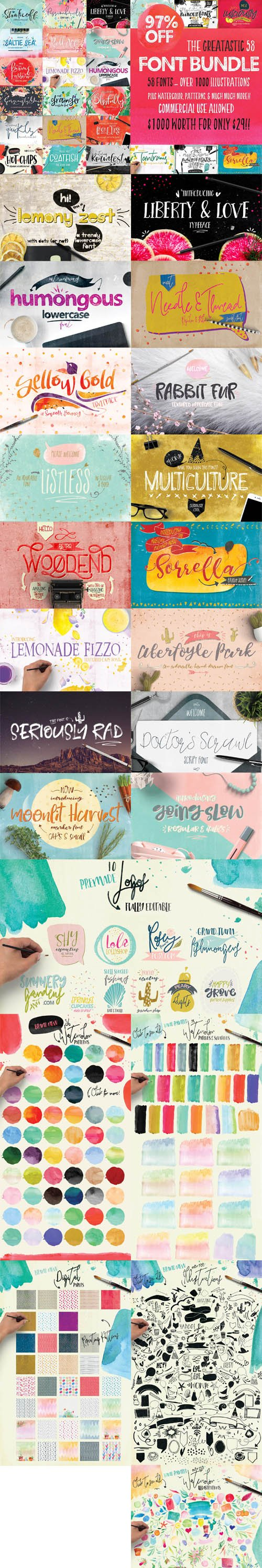Creativeqube Design Studio - The Greatastic 58 Font Bundle - Over 1000 Illustrations + Patterns