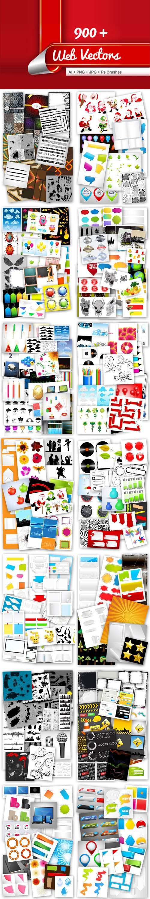 900+ Web Vectors + PNG & Photoshop Brushes (Re-Up)