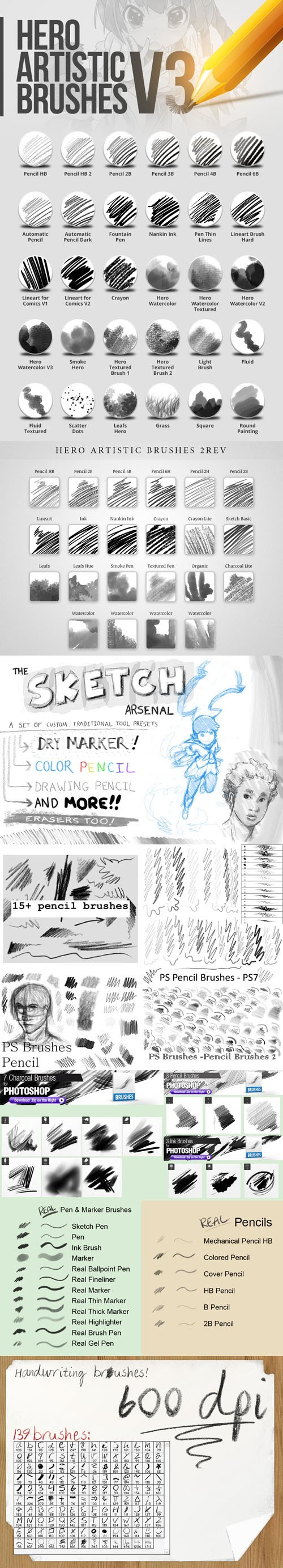 370+ Handwriting Brushes Collection for Photoshop