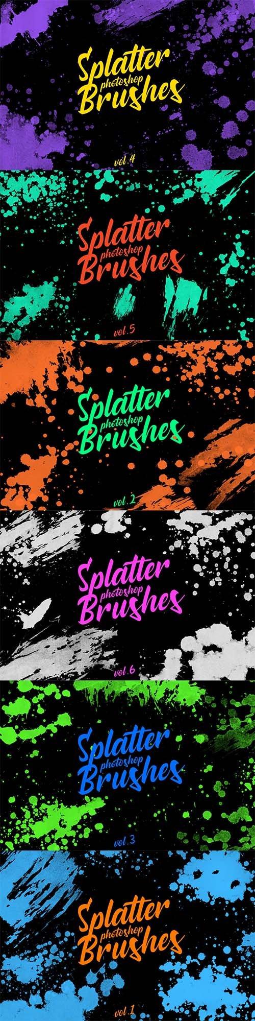 Splatter Stamp Photoshop Brushes Vol. 1-6