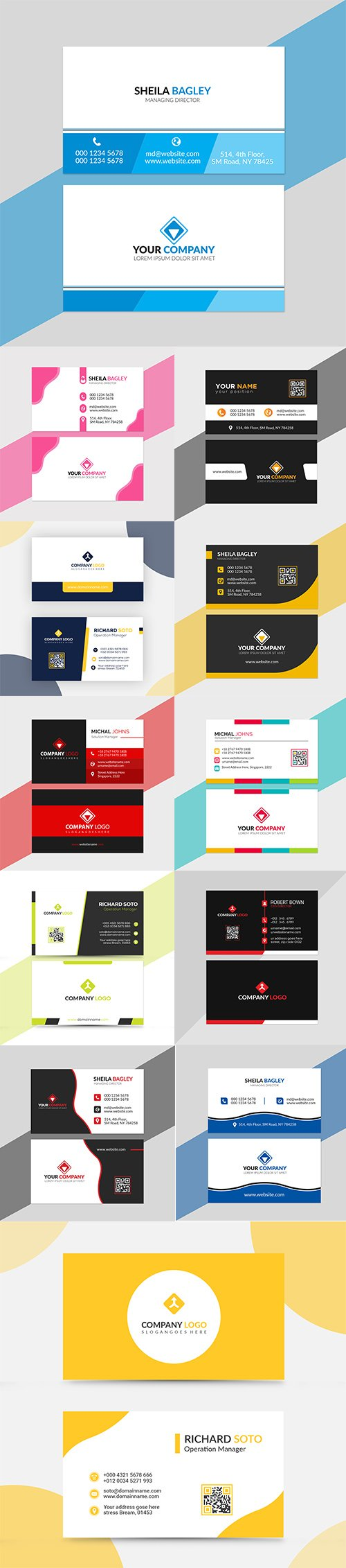 Colorful Business Card PSD and EPS Template Set