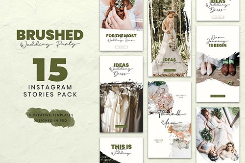 Wedding Brush Instagram Stories PSD