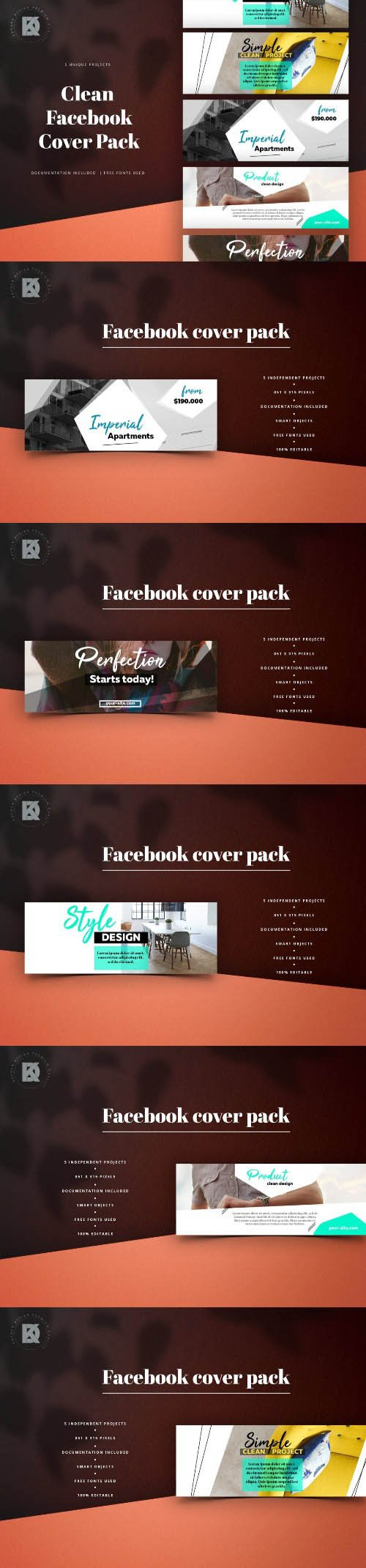 Facebook Clean Pack PSD