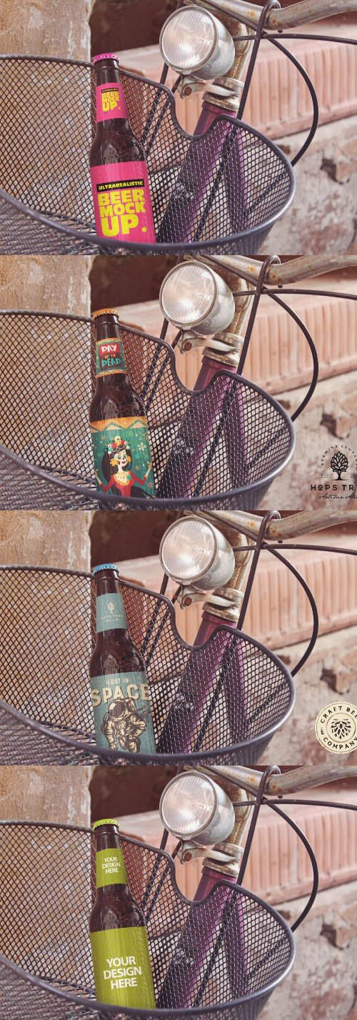 Bike Basket Beer Mockup PSD