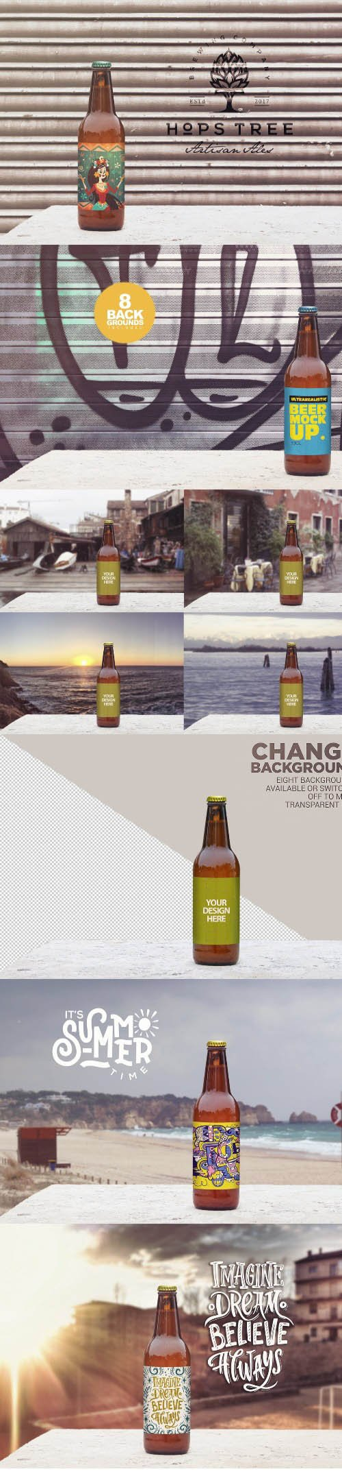 50cl Garage Beer Mockup PSD