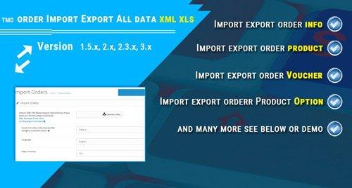 order import export xml / xls (2.x & 3.x) - OpenCart Extension