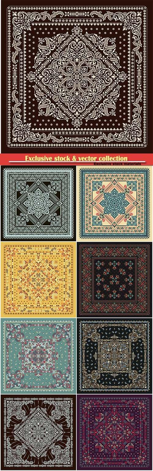 Vector ornament paisley Bandana, kerchief square pattern design style