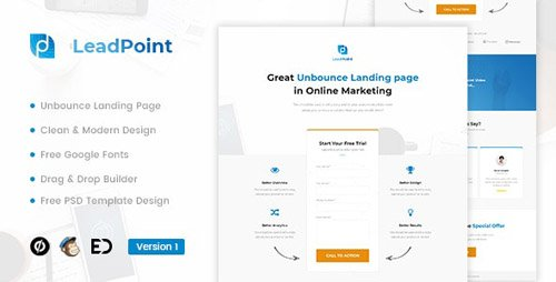 ThemeForest - LeadPoint v1.0 - Lead Generation Unbounce Landing Page Template - 22524667