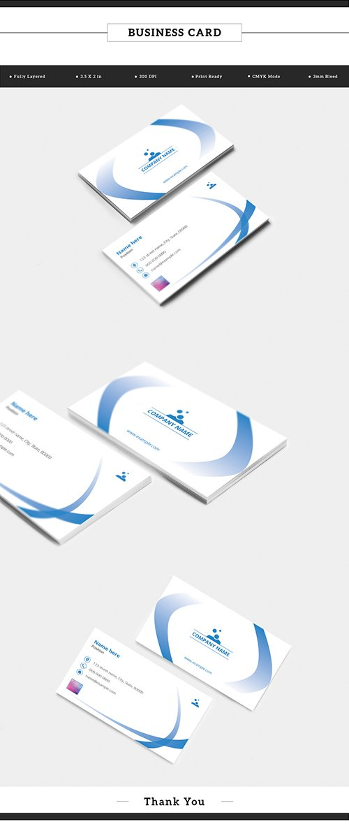 Business Card Layout with Blue Gradient Ribbon Elements 198104771 AIT