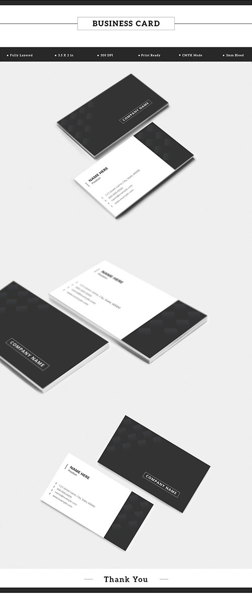 Dark Gray and White Business Card Layout with Pattern 198104778 AIT