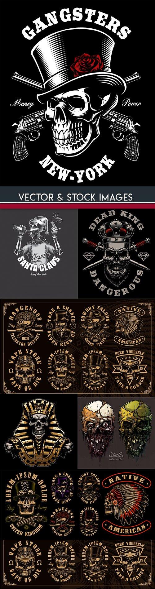 Skull and accessories grunge label drawn design 7
