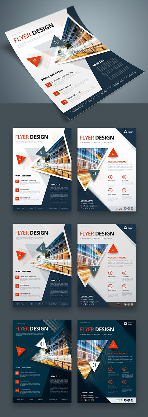 Colorful Business Flyer Layout with Triangle Elements 267840391 AIT