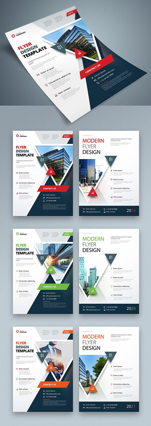 Colorful Business Flyer Layout with Triangle Elements 267840423 AIT