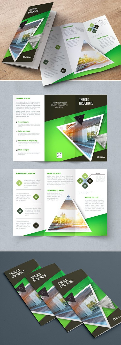 Green Trifold Brochure Layout with Triangles 267840435 AIT