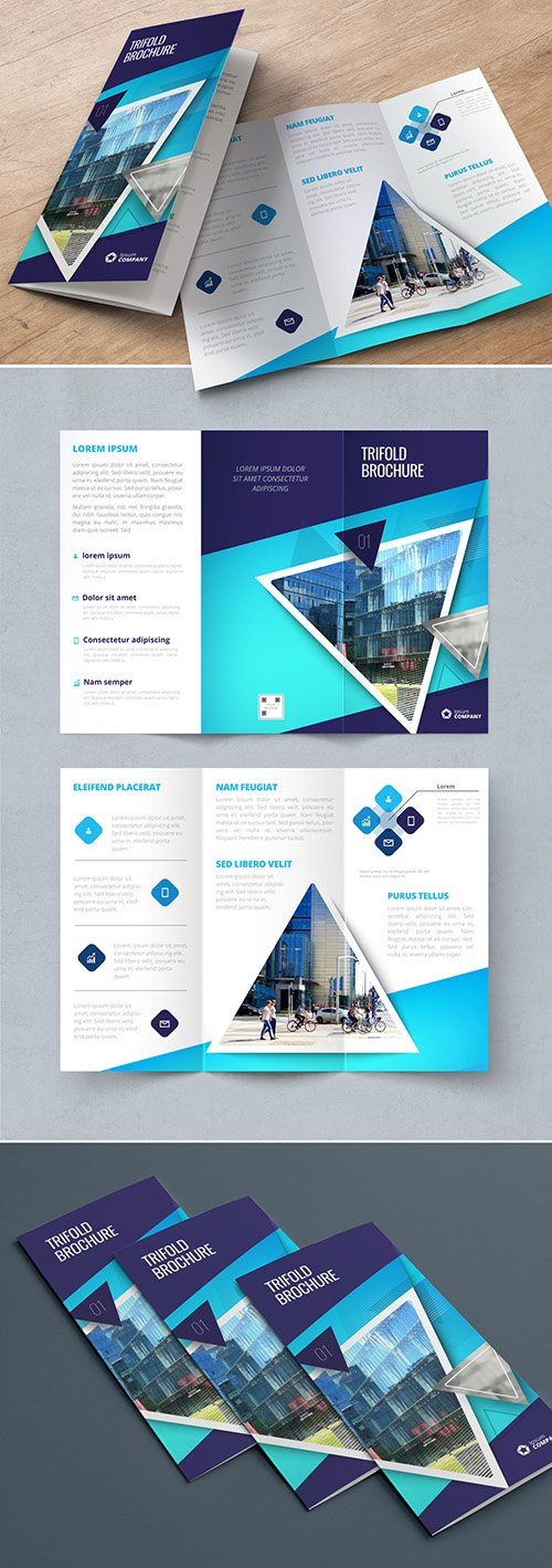 Dark Blue Trifold Brochure Layout with Triangles 267840417 AIT