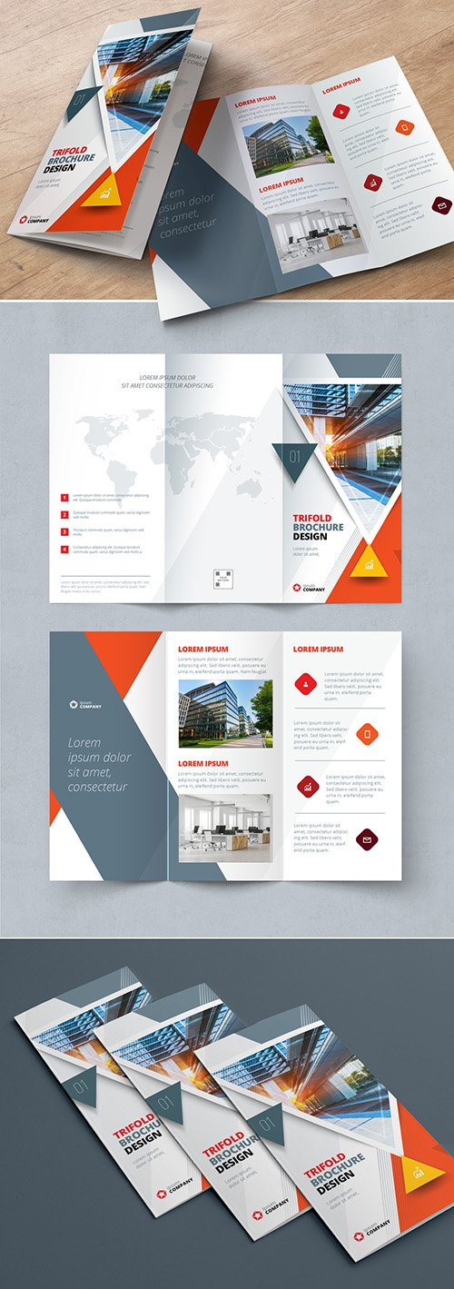 Orange Trifold Brochure Layout with Triangles 267840452 AIT