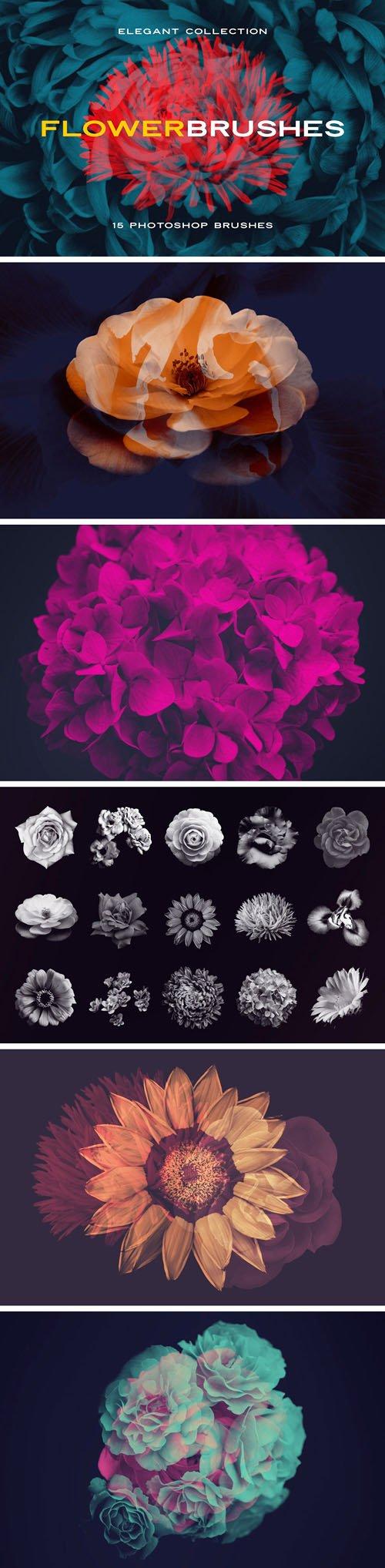 15 Flower Photoshop Brushes