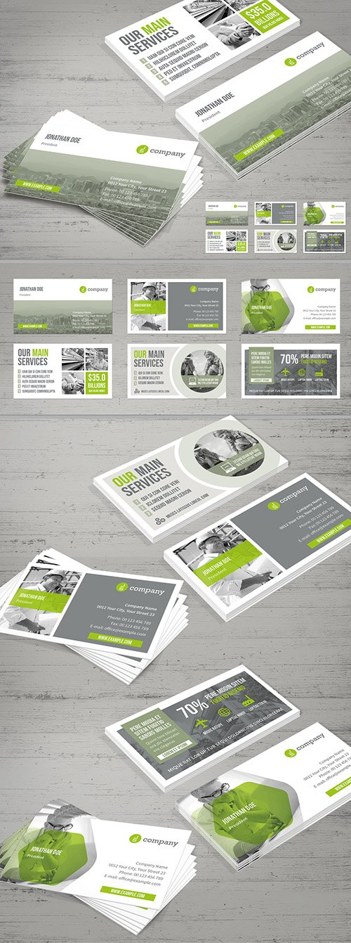 Business Card Layout with Light Gray and Pale Green Elements 281647379 INDT