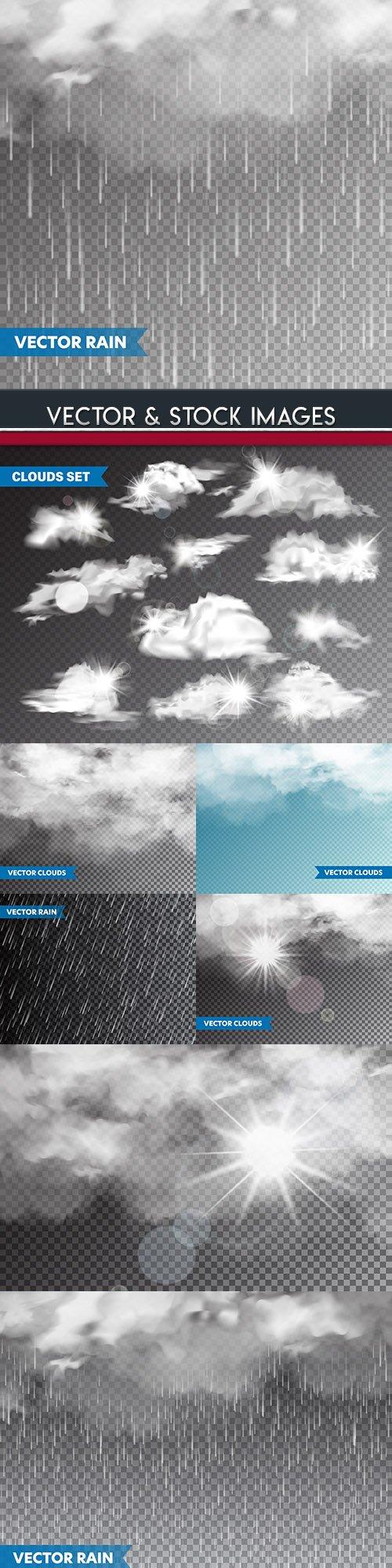 Cloud clouds and rain realistic 3 d illustrations