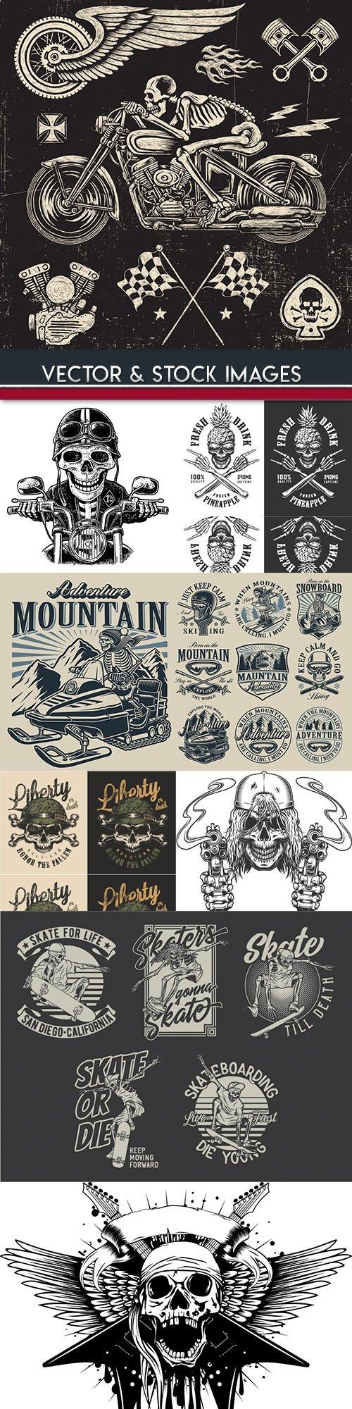 Skull and accessories grunge label drawn design 8
