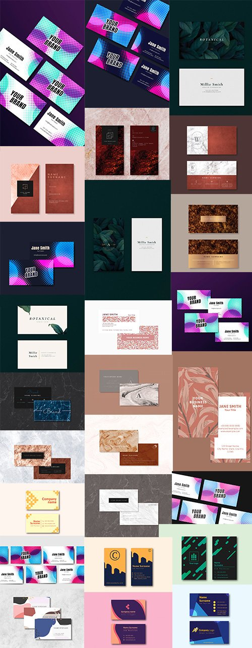 Business Card Set of 25 Vector Template