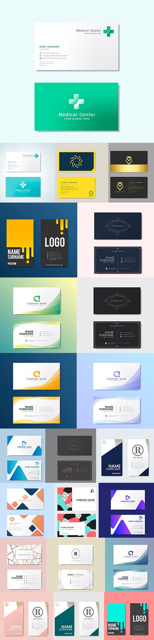 Business Card Set of 22 Vector Template